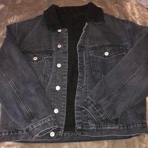 brandy Melville John Galt black furry Jean jacket